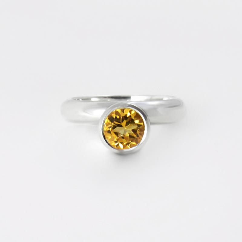 full circle silver and citrine ring cocktail ring